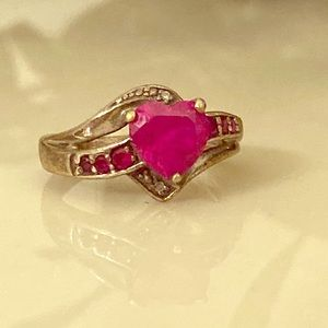 Heart cut pink ruby ring